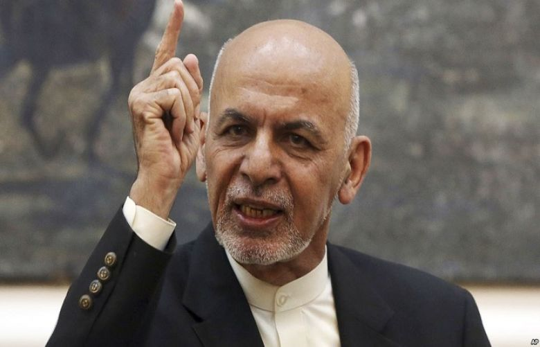 Afghan President Ashraf Ghani speaks during a press conference at the presidential palace in Kabul, Afghanistan, July 15, 2018.