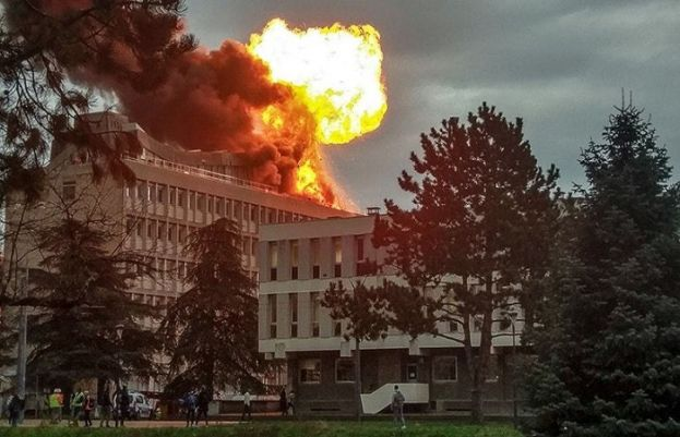 A picture taken on Thursday in Villeurbanne near Lyon, shows an explosion on a rooftop of La Doua University Campus.