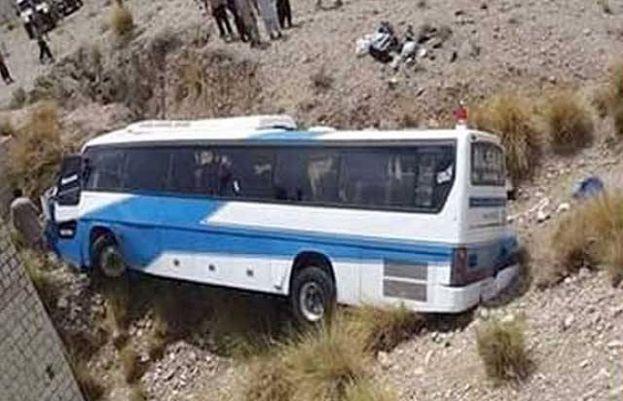18 people killed as passenger bus flips in Khuzdar