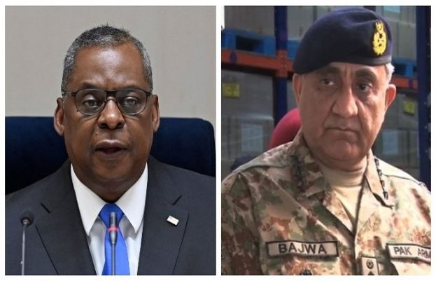 US Defence Secretary Lloyd Austin andChief of Army Staff General Qamar Javed Bajwa