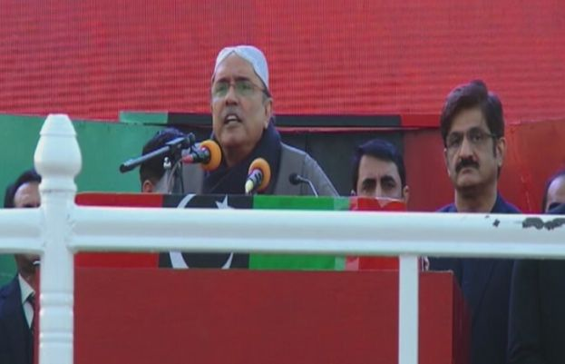 PPP leader Asif Ali Zardari addresses party supporters in Garhi Khuda Bakhsh.
