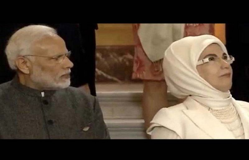 Indian PM Modi left 'red faced' after Turkish first lady's