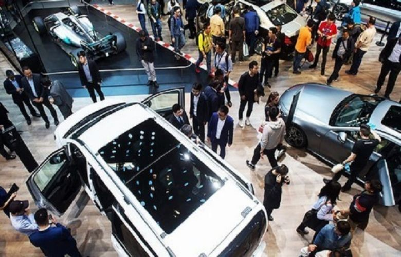 This general view shows the Mercedes car stand during the Beijing Auto Show in Beijing on April 25, 2018.