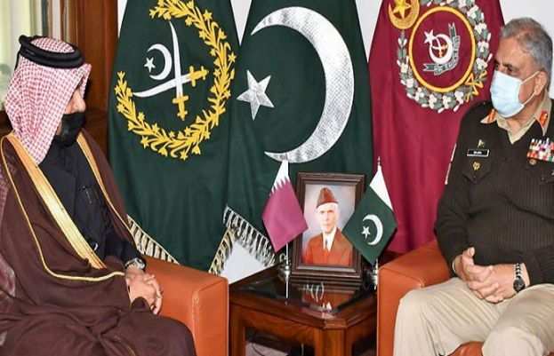 Special Envoy of the Minister of Foreign Affairs of Qatar Dr Mutlaq Bin Majed Al Qahtani called on Chief of Army Staff (COAS) General Qamar Javed Bajwa