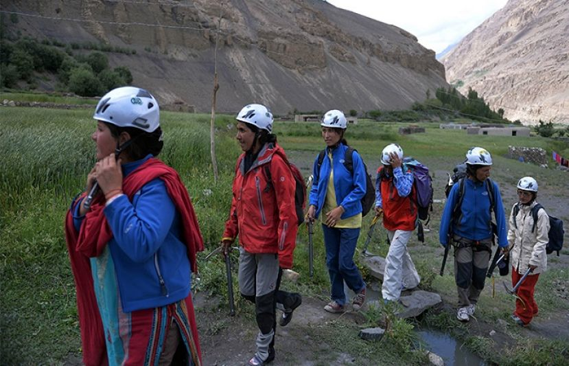 Students from the Shimshal Mountaineering School prepare to climb near the Shimshal village in the northern Hunza valley