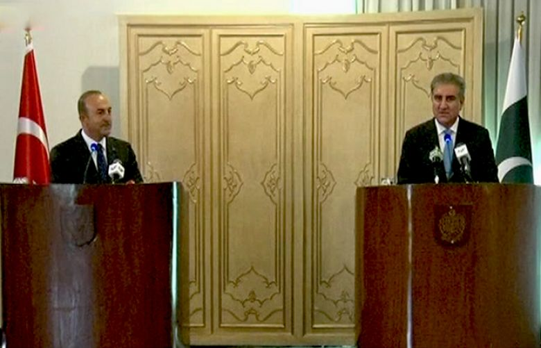 Foreign Minister Shah Mehmood Qureshi and his Turkish counterpart Mevlut Cavusoglu are addressing a joint press conference