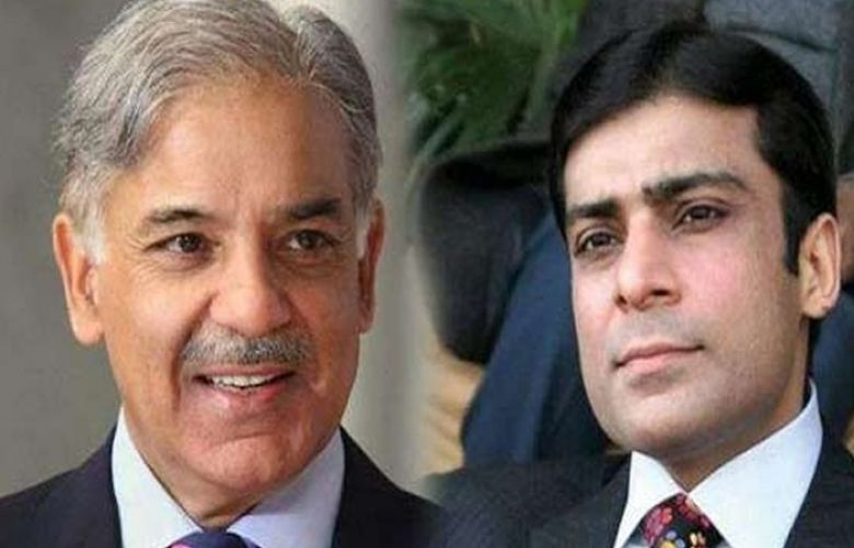 Opposition Leader Shehbaz Sharif and Hamza Shehbaz