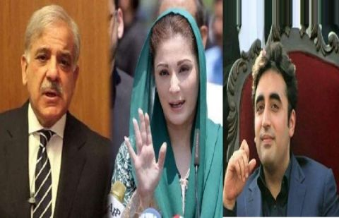 Leader of Opposition in National Assembly Shehbaz Sharif, PML-N vice president Maryam Nawaz.and PPP chairman Bilawal Zardari