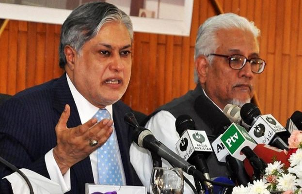 Federal Finance Minister Ishaq Dar addressing a press conference.