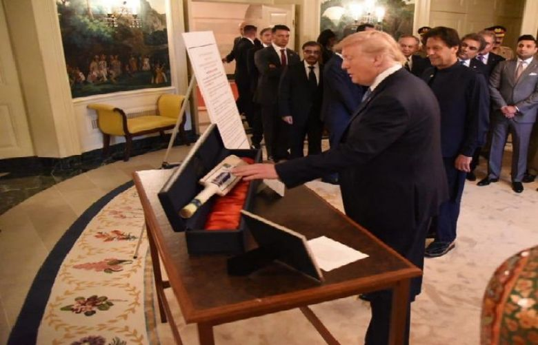 United States President Donald Trump presented a cricket bat to Prime Minister Imran Khan