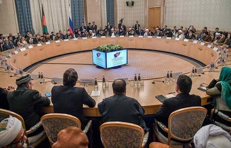 In this file photo participants attend the opening of the two-day talks of the Taliban and Afghan opposition representatives at the President Hotel in Moscow on February 5.