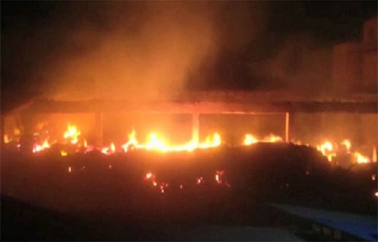 A massive fire of Category-3 erupted in a godown of a cotton factory situated in the SITE area of Karachi