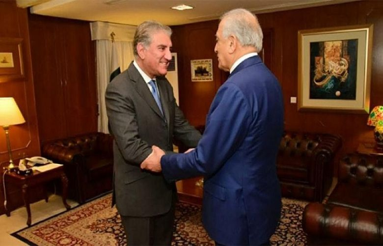 Foreign Minister Shah Mahmood Qureshi and US special envoy on Afghanistan, Zalmay Khalilzad,