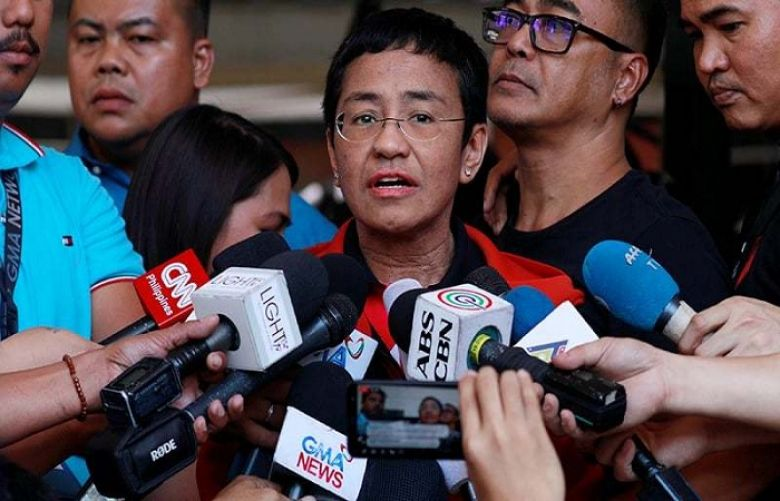 Rappler CEO and Executive Editor Maria Ressa speaks to the media after posting bail in Pasig Regional Trial Court in Pasig City, Philippines on March 29, 2019.