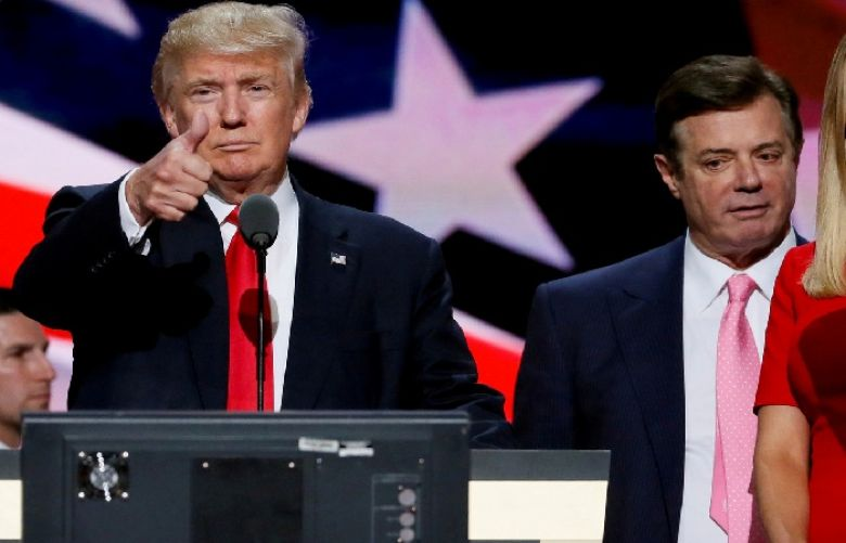 Republican presidential nominee Donald Trump and his campaign manager Paul Manafort at the Republican National Convention in Cleveland, U.S., July 21, 2016