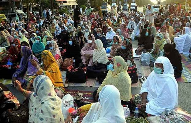 Lady Health Worker protesting in Islamabad