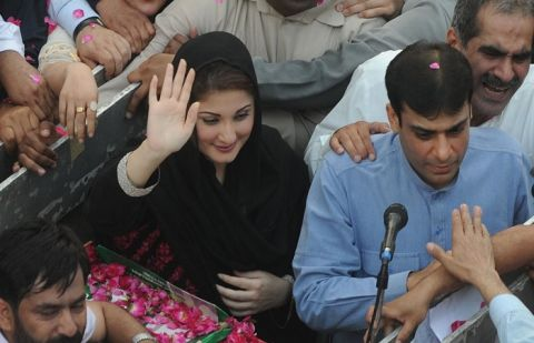Hamza Shehbaz and Maryam Nawaz during 2013 general elections campaign.