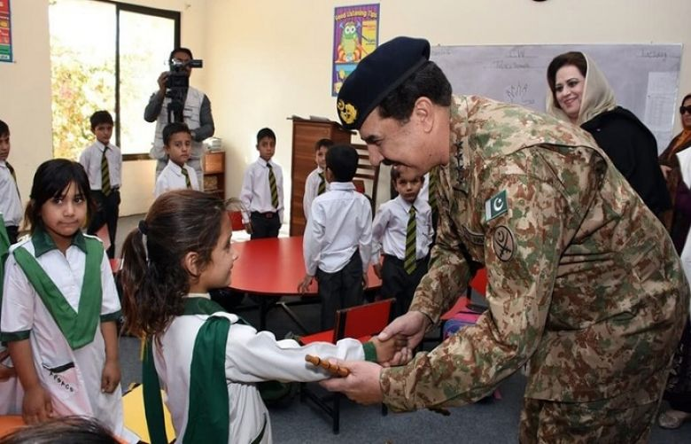 Gen Raheel Sharif visited the newlly opened APS in Changmalai, South Waziristan