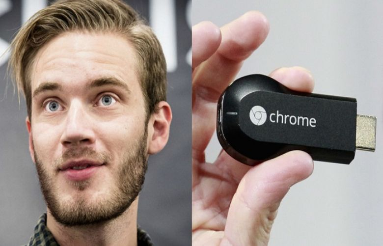 Youtube star PewDiePie (left), a Chromecast device (right).