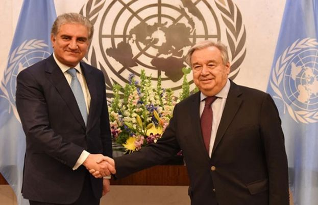 UN Secretary General António Guterres and Foreign Minister Shah Mahmood Qureshi