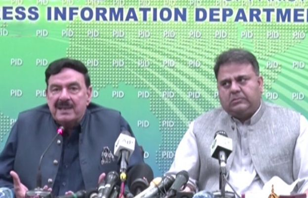 Federal Minister for Information and Broadcasting Fawad Chaudhry and Interior Minister Sheikh Rashid Ahmed