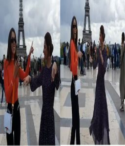 Pakistan's heartthrob Mahira dances with Lebanese actress Daniella in front of Eiffel Tower