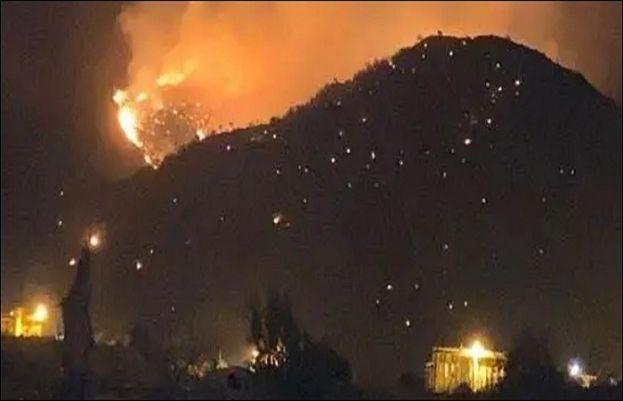 طائف میں پہاڑ پر خوفناک آتشزدگی